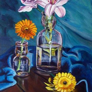 Art: Gerbers and Babytop bottles by Artist Heather Sims
