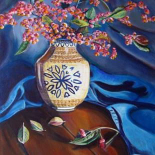 Art: European Spindle: Polish Pottery XXI by Artist Heather Sims