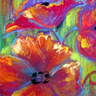 Art: Poppies on Lime by Artist Kathryn Delany