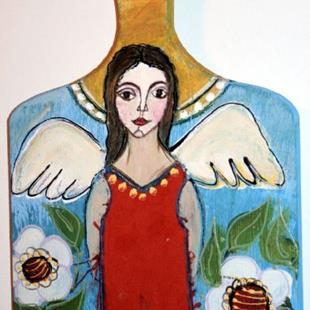 Art: THE LITTLE ANGEL-wine cheese board-sold by Artist LUIZA VIZOLI