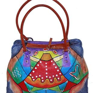 Art: Funkier Than Thou (Leather Satchel Handbag) by Artist Diane G. Casey