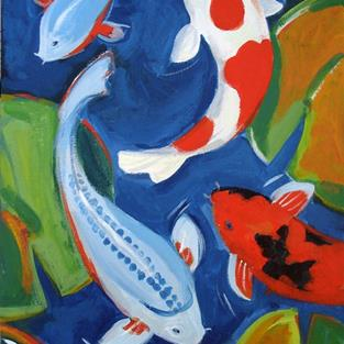 Art: One Fish Two Fish Red Fish Blue Fish by Artist Muriel Areno