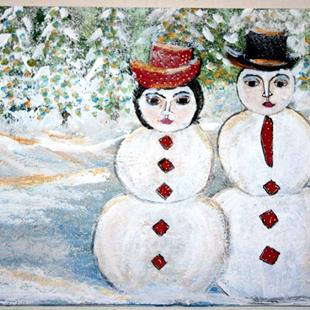 Art: SNOWMEN FAMILY-sold by Artist LUIZA VIZOLI