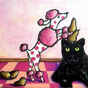 Art: Pink Polka-dots Poodle Piling Pears on a Perplexed Panther by Artist Marina Owens