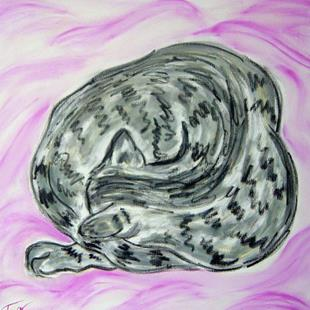 Art: Tabby Cat Curl on Pink Blanket by Artist Tracey Allyn Greene