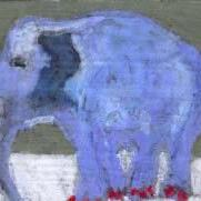 Art: BLUE ELEPHANT with bright red nail polish by Artist Gabriele Maurus