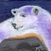 Art: POLAR BEAR, vacationing on Rocky Island - roundtrip fare by Artist Gabriele Maurus