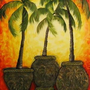 Art: Potted Palms- SOLD by Artist Ke Robinson