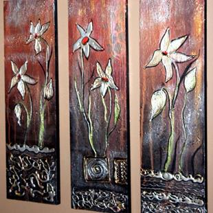 Art: GOLD FLOWERS-sold by Artist LUIZA VIZOLI