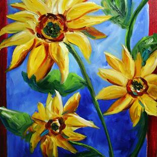 Art: Trio of Sunflowers by Artist Laurie Justus Pace