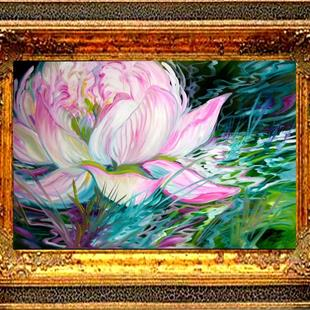 Art: PINK LOTUS ON A RIPPLING POND by Artist Marcia Baldwin