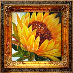 Art: THE DAWNING OF A SUNFLOWER by Artist Marcia Baldwin