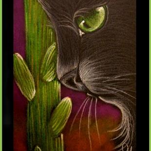 Art: BLACK CAT - SAGUARO CACTUS -AWARD by Artist Cyra R. Cancel