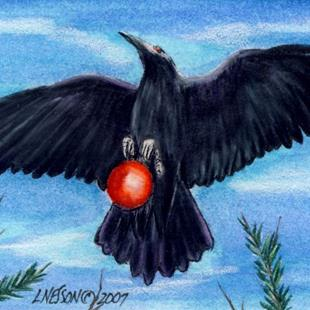 Art: Christmas Thief Raven Crow ACEO by Artist Lisa M. Nelson