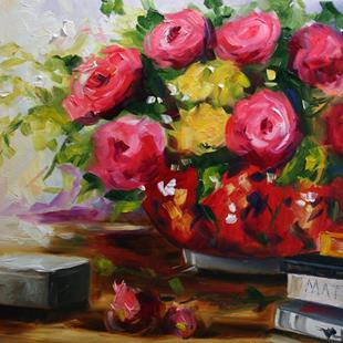 Art: Art Books and Roses by Artist Laurie Justus Pace