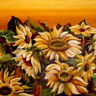 Art: Midnight Sunflowers - SOLD by Artist Diane Millsap