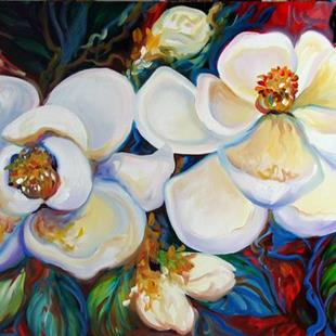 Art: TWO MAGNOLIAS ON RED ~ GALLERY $2250 by Artist Marcia Baldwin