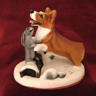 Art: Corgi & Bunny Snowday! by Artist Camille Meeker Turner