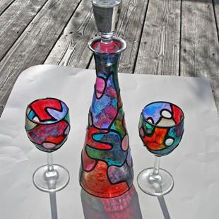 Art: Stained Glass Painted Wine Decanter Set (Topper & 2 glasses included) by Artist Diane G. Casey