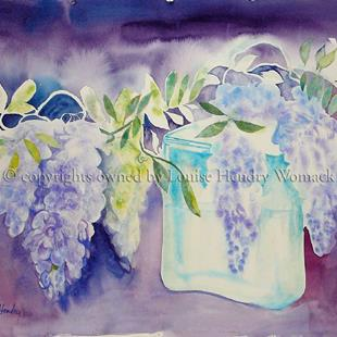 Art: Wisteria in a Battery Jar # 1 by Artist Louise Hendry Womack