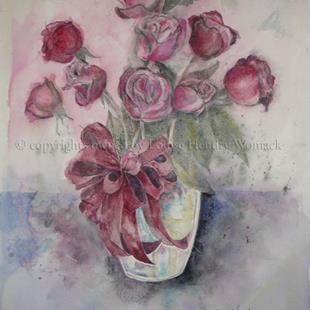Art: The Valentine Roses by Artist Louise Hendry Womack