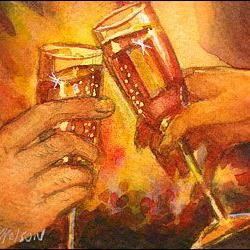 Art: New Year's Toast! by Artist Erika Nelson