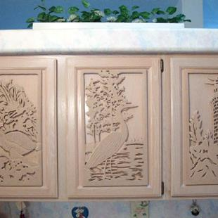 Art: Custom Made Kitchen Cabinet Door Plaques by Artist Gina Stern