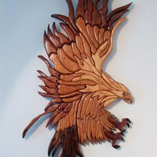 Art: Stained  Wood Original Eagle by Artist Gina Stern