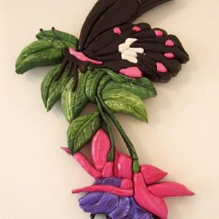 Art: Butterfly/Fuschia Painted Intarsia Art by Artist Gina Stern