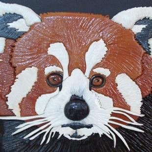 Art: Red Panda Original Painted Intarsia Art by Artist Gina Stern