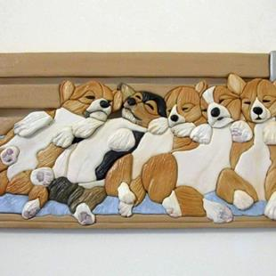 Art: ROCKA BYE BABY...Corgi Pups/Bench  Original Painted Intarsia Art  by Artist Gina Stern