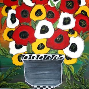 Art: RED WHITE YELLOW POPPIES-sold by Artist LUIZA VIZOLI