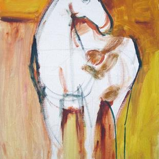 Art: (Unfinished) Horse and rider by Artist Muriel Areno