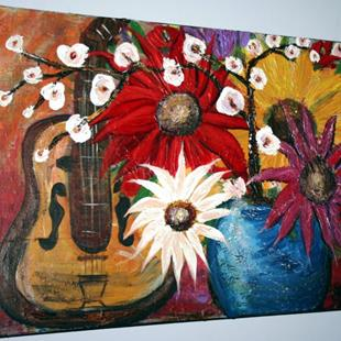 Art: GUITAR AND FLOWERS by Artist LUIZA VIZOLI