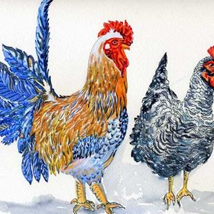 Art: Roosters, Mr & Mrs by Artist Naquaiya