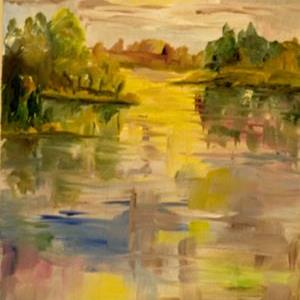Art: Sunrise on the Lake by Artist Delilah Smith