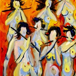 Art: Walking Nudes with Flutes by Artist Delilah Smith