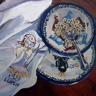 Art: Lunch: Polish Pottery XXVII by Artist Heather Sims