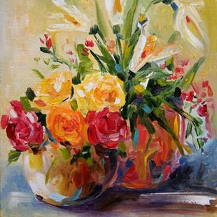 Art: Roses and Liles by Artist Laurie Justus Pace