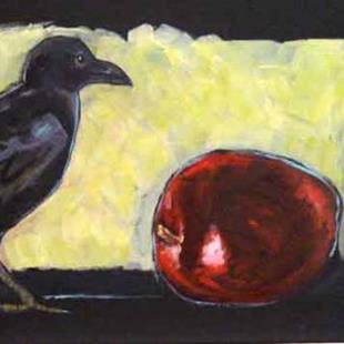Art: Crow and Two Very Red Apples by Artist Catherine Darling Hostetter