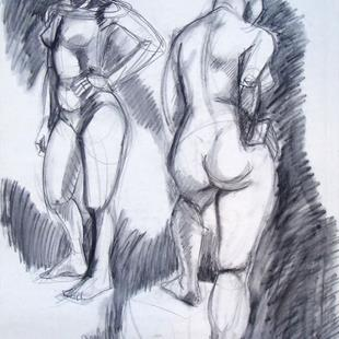 Art: Two Nude Figures by Artist Muriel Areno
