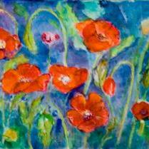 Art: Red Hot Poppies by Artist Delilah Smith
