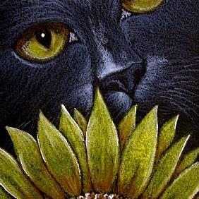 Art: BLACK CAT BEHIND THE SUNFLOWER by Artist Cyra R. Cancel