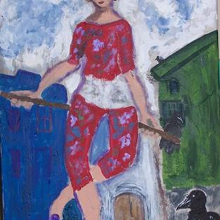 Art: The Acrobat with Crows ala Chagall by Artist Nancy Denommee