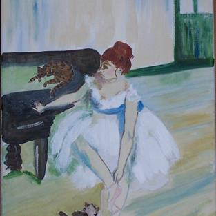 Art: The Dancer with Cats homage to Degas by Artist Nancy Denommee
