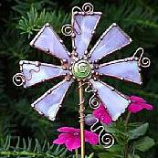 Art: Fancy Flower Art Stake by Artist Dianne McGhee