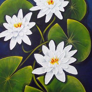 Art: White Water Lilies by Artist Rita C. Ford