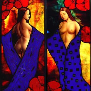 Art: Poppies Diptych by Artist Dawn Lee Thompson