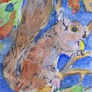 Art: Squirrel aceo-sold by Artist Delilah Smith
