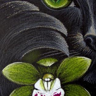 Art: *BLACK CAT MERCAT - GREEN ORCHID FLOWER by Artist Cyra R. Cancel